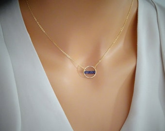 Genuine Sapphire Necklace, September Birthstone Necklace, 14Kgold fill, Bridesmaids necklce, Karma necklace, sapphire necklace