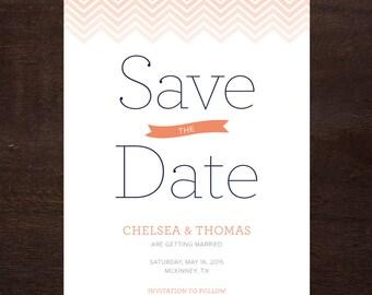 Chevron Save the Date, Printable Digital File