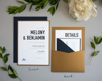 Modern & Bold Wedding Invitation SAMPLE, Panel Pocket, Navy and Antique Gold
