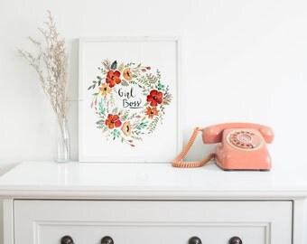 Girl Boss Handpainted Watercolor Reproduction PRINT