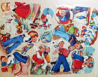 Sailor Ephemera,Sea Ephemera,Dutch Ephemera,Children Ephemera,German Cutout,Storybook Ephemera,Scrapbook Art,Collage Art,Child Cutout,EAS
