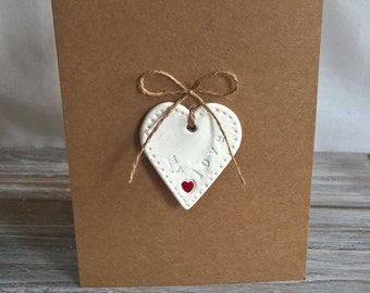 Handmade Air Dry Clay 'My Love' Removable Keepsake Heart on a plain brown card left blank for your own message