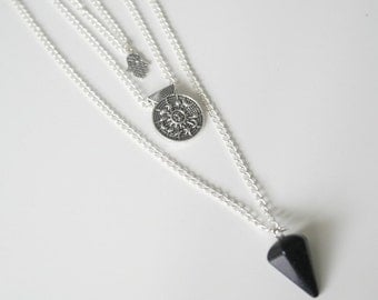 Lunar veil triple layer necklace