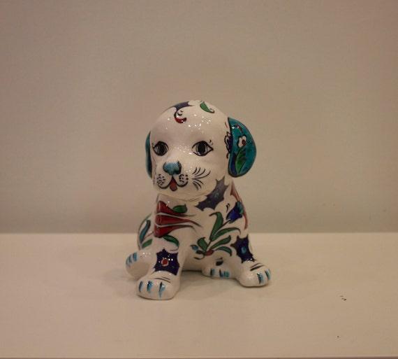 Colorful Floral Design Dog Trinket, Ceramic Dog Sculpture, Colorful Dog Trinket, Floral Design Ceramic Trinket, Dog Figure with Flowers,