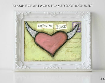 Sale!  5x7 Original painting, heart painting, mixed media painting, mixed media art, whimsical heart art, inspirational art, Cherish Peace