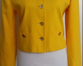 Cropped jacket, S, yellow jacket, yellow blazer, gold jacket, goldenrod blazer, goldenrod jacket, military jacket