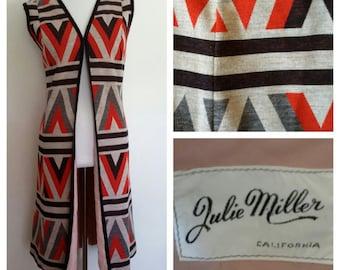 Aztec duster, L, tribal duster, wool duster, aztec vest, long vest, 70's duster, 70's sweater coat, aztec sweater