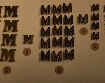 Vintage Solid Brass and Nickel Harness Letters - M