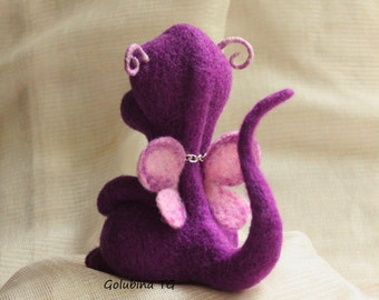 Wool Felted dragon, Needle felted, felted animals Soft Sculpture, ooak needle felted Dragon Fantasy Wool toy