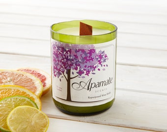 Sweet Orange and Lemongrass vegan candle with essential oils. Handmade eco friendly candle with recycled wine bottle. Valentine's gift idea