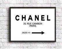 Coco Chanel Print Fashion Print Wall Art Chanel Poster Fashion Decor Art Print sizes from 5 x 7 to 19.7 x 27.6 (50 x 70 cm)