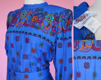 Vintage 70s, NWT, Blue Dress // 1970s, Lanz Originals, Deadstock, Women Size Small, Medium