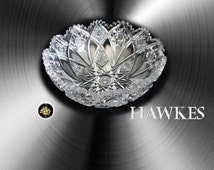 Hawkes signed vintage cut crystal bowl with sawtooth rim