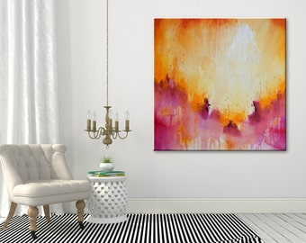 Large painting Abstract Painting Original art Acrylic on canvas Contemporary Art Abstract wall art Modern Artwork Purple Painting Orange