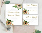 Personalised Printable Wedding Invitation Set Invite RSVP Details Card Eleanor  WCB31