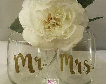 Mr and Mrs Wine Glasses Makes a great Engagement party Wedding Bridal shower gift His and Hers couple Bride and Groom Hubby and wifey set