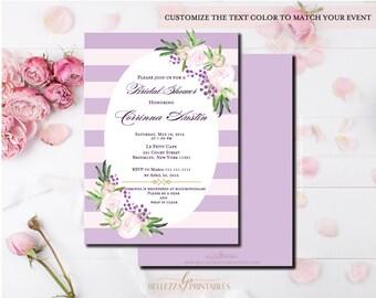 Purple & Pink Peony Bridal Shower Invite- Floral Stripe Bridal Shower Invite- Peony Floral Invitation-Digital File or Printed Cards-BS24