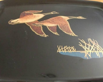 Mid century Couroc of Monterey Serving Tray with Geese