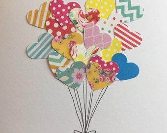 Heart Balloons Greetings Card - variations available