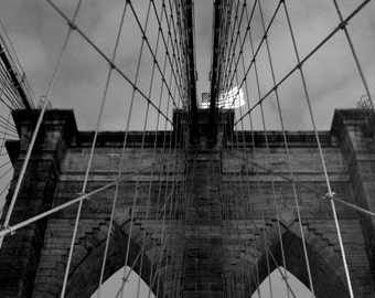 Brooklyn Bridge Wrapped Canvas Photograph | New York | Home Decor | Brooklyn Bridge Canvas | Black and White Brooklyn Bridge Photography
