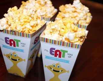 Monster Baby Shower Popcorn Box, Little Monster Popcorn Box, Little Monster Baby Shower Printables