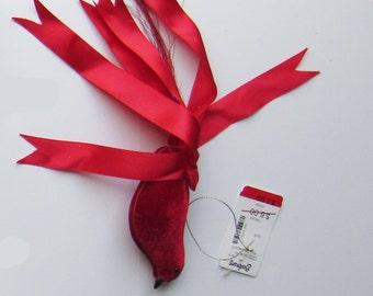 Partridge Bird Christmas Ornament - Red - Bird Christmas Ornament - Velvet