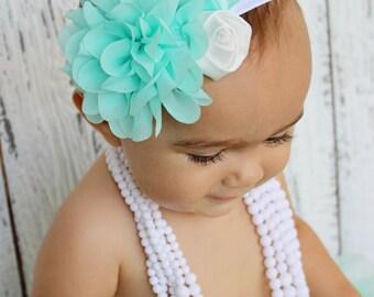 Light turquoise and white shabby chic headband. Shabby chic flower headband for newborn, babies and girls