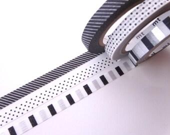 Slim washi tape, 6mm washi tape set, Monochrome washi set, Japanese stationery, Planner tape, Gift wrapping, Hobonichi tape, Decor tape