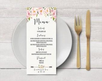 PRINTABLE Wedding Menu, Wedding Dinner Menu, Custom Wedding Menu, Reception, Floral Menu, Menu Poster