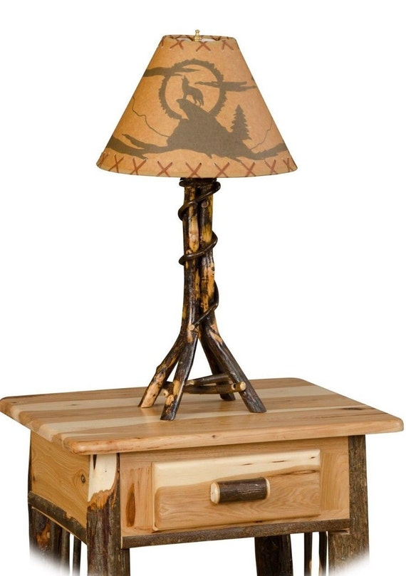 Rustic Hickory Twisted Log Table Lamp Living Room Family