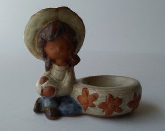 Counterpoint Girl Little Ceramic Girl Dish Counterpoint Figurine Mid Century Statue Tiny Little Girl Sitting Next to Bowl