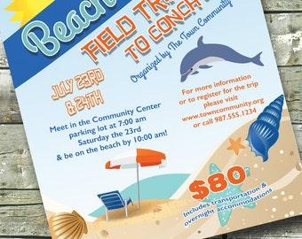 BEACH PARTY Surf Invitation Beach Trip 5x7 Invite 85x11 Flyer