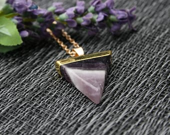 Amethyst Necklace/ Gold Capped Amethyst Pendant/ Polished Amethyst Necklace