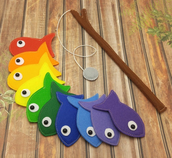 Rainbow felt magnetic fishing game kids magnet fishing set for Best places to magnet fish