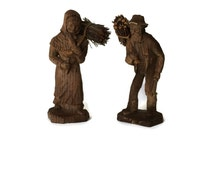 Folk Art Figurines, Primitive Wood Figurine, French Folk Art, Rustic Home Decor