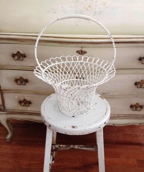 antique shabby chic chippy white wire basket shabby chic