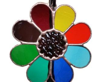 Stained Glass Suncatcher Rainbow Daisy