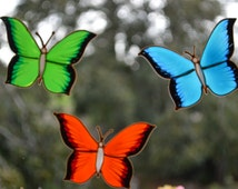 Butterfly decor, Butterfly glass door decal, Tile decal, Faux stained glass, Window cling.