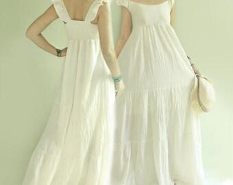 SALE 30% Off, Summer Boho Gypsy Off Shoulder Tiered Maxi Cotton Dress in Off White, Beach Wedding