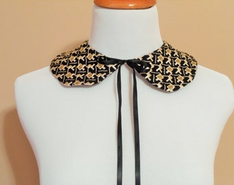 Peter Pan Reversible Detachable Collar, Black and Gold Brocade Faux Collar, Removable Vintage Style Collar