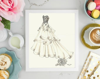Anniversary Gift - Wedding Gift or Bridal Shower Gift - A Custom Wedding Dress Sketch - 3/4 Front View