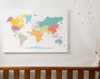 Awesome World Map Wall Art Etsy Largest Home Design Picture Inspirations Pitcheantrous