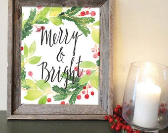 Christmas printable Merry and Bright  wall art decor watercolor wreath holly DIGITAL FILE printable