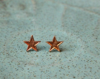 Vintage Copper Star Stud Earrings