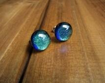 Dichroic Glass Earrings // Mermaid Earrings // Blue Green Earrings / Teal Sparkly Earrings / Color Changing Earrings / Fused Glass Earrings