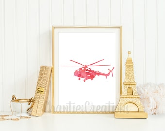 Red Vintage Watercolor Helicopter Printable Wall Art.