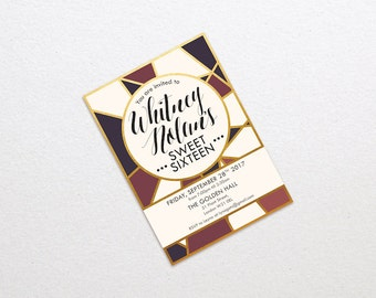 Customised Golden Sweet 16 Invitation Sweet Sixteen Invite Printable Template Coming of Age 18th Birthday Party Invites Golden Marsala