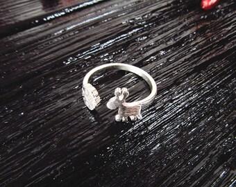 Silver Snowflake Deer Ring, Sterling Silver Snowflake Deer Ring, Sterling Silver Adjustable Ring, Snowflake Ring, Winter Ring Statement Ring