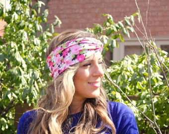 CLEARANCE!!! Pink Flowers Twist Headband, Workout Headband, Running Headband, Fashion Headband, Bohemian Headband
