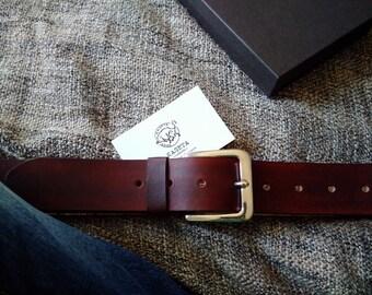Belt 'Rage 44' full grain leather, Chocolate